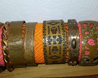 Seven vintage copper bangles, southwest motif, boho bangles