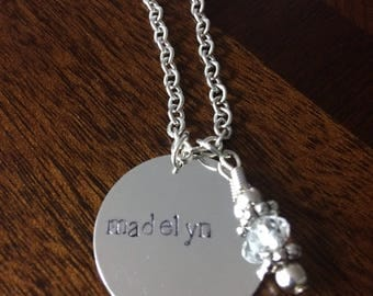 CUSTOM Hand Stamped Necklace SINGLE charm pendant on chain