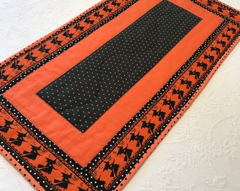 Orange and Black Halloween Table Runner, Halloween Decor, Witches