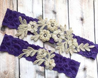 Purple And Gold Garter Set Dark Wedding Lace Purpe