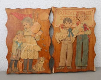 Pair of Wood Plaques County Fair c1970s