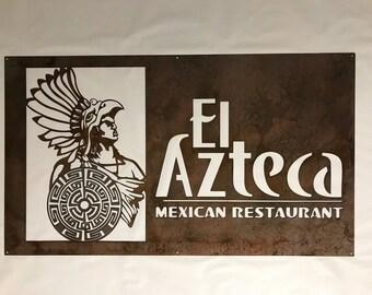 4ft metal sign El Azteka