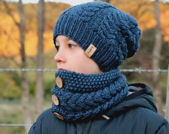 "Knitting Patterns, Knitted Beanie and Cowl Pattern, ""Marlon Beanie & Cowl"" PDF  PATTERN ONLY"