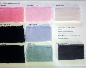 2 SAMPLES catalogs for DOUBLE-SIDED fleece soft cuddly fabric (A and C)