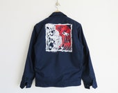 Painted Utility Jacket // Medium 1970's Dark Blue Workman's Jacket // Unisex Vintage Clothing