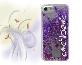 iPhone 6s case iPhone 6s Plus case Monogram Name iPhone 7 case iPhone 6 case iPhone 7 plus case iPhone 6 plus purple liquid glitter floating