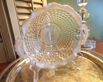 OPALESCENT HOBNAIL Bowl, Moonstone Crystal Double Handle Bowl, Anchor Hocking Glass Company