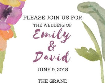 Watercolor Wedding Invitation Printable PDF