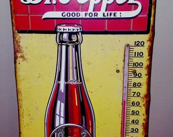 True Vintage Dr. PEPPER Metal Thermometer Advertising Sign 1940s Soda Pop Shop