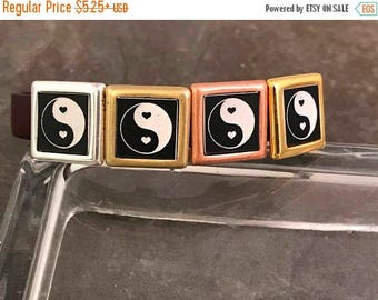 On Sale NOW 25%OFF Beautiful Engraved Yin Yang Spacer Bead For 10mm Flat Leather - Your Metal Choice - Z4445 - Qty 1
