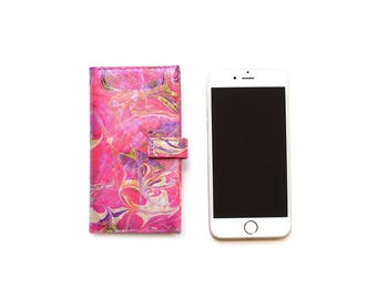 Luxury Hot Pink Purple Leather iPhone 5/5S flip case, Designer iPhone cover
