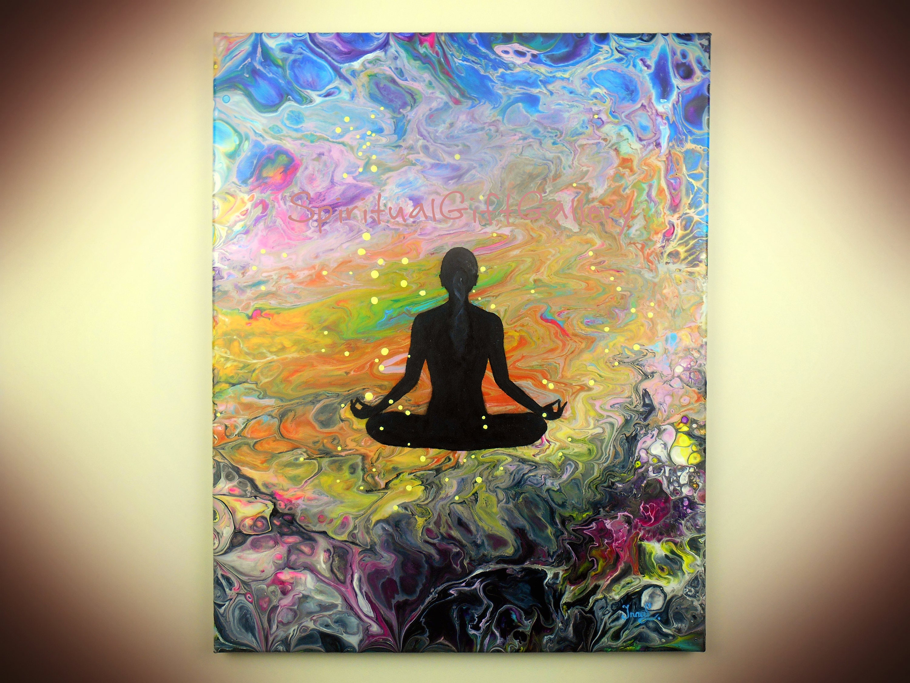 Original Pouring Acrylic Painting on Canvas Abstract Modern Yoga ...