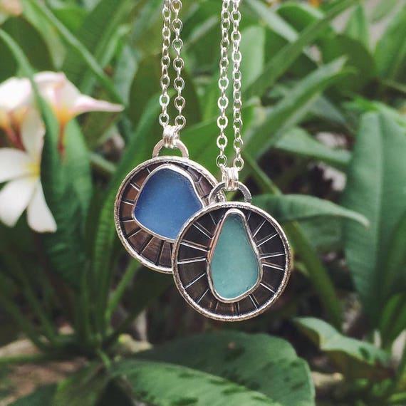 sea foam sea glass sun medallion - extra long necklace