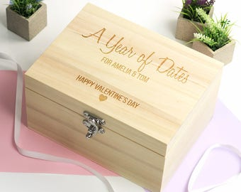 Valentines Day Gift - Year Of Dates - Personalised Keepsake Box - Wooden Keepsake Box - Wooden Memory Box - Gifts For Her - LC089