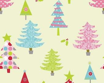 VACATION SALE 1/2 yard Riley Blake RBD Christmas Basics Trees lime