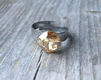 Adjustable Swarovski Crystal Golden Shadow 10mm Rivoli Ring