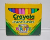 1997 Vintage Crayola Techno Brite Original Markers in Cool Neon Shades in Packaging Retro Back to School Office Supplies Prop Nostalgia