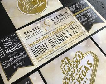 Las Vegas Custom Fold Wedding Invitations   Married In Vegas   Elopement  Announcements   Las Vegas