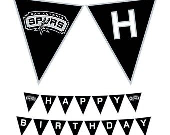 San Antonio Spurs Happy Birthday NBA Printable Banner