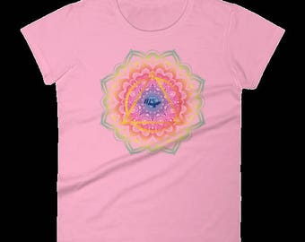 Women's Colorful Recovery Mandala Short Sleeve T-shirt- 12 Step Recovery Gift Sober Clothing Sobriety