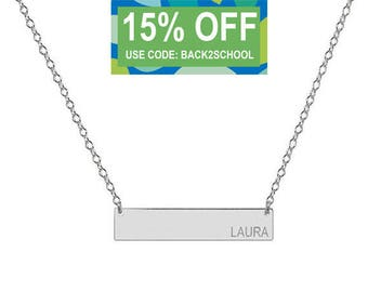 Engravable 14k Solid White Gold Bar Necklace 1 inch Pendant tiny side name or initial