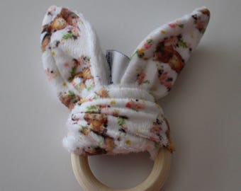 Bunny Ear Teething Ring, Maple Ring, Natural Teether, Rabbit Ears, Natural Wood Teether - Baby Shower, Baby Girl