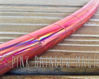 NEW* •Pink Rainbow Magic• Polypro or HDPE Holographic Hula Hoop