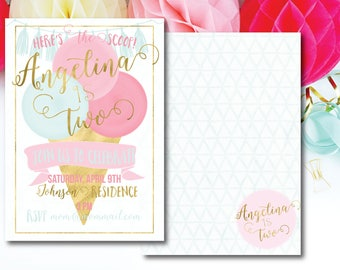 ice cream invitation-ice cream party-printable invitation-custom invitation-rose gold-DIY-pink invitation-blue invitation-ice cream cone