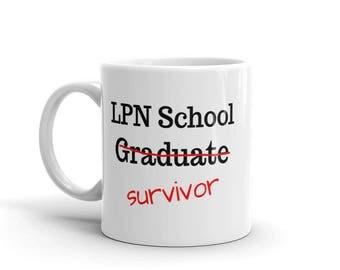 LPN School Survivor Graduation Gift for Nurse Coffee Mug Nursing School Grad Licensed Practical Nurse