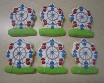 12 Ferris Wheel Hand Decorated Cookies