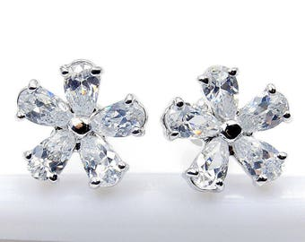 Ice Princess Cubic Zirconia & Sterling Silver Stud Earrings X221 O134 Gift Flower Earrings