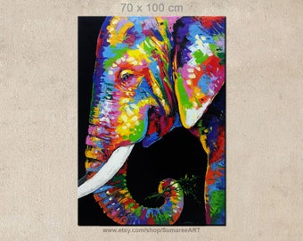 70 x 100 cm, Colorful Elephant Painting, elephant wall decor