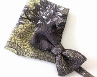 bow tie with handkerchief in beige-grey as set