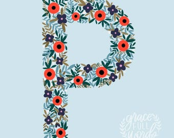 "The Letter P Printable Art - Instant Download - Inlcudes 8X10"" and 11X14"" sizes"