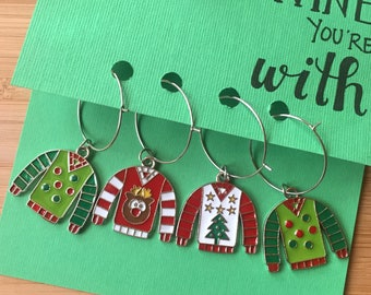 Ugly Sweater Wine Charms // Ugly Sweater Party // Christmas Wine Charms