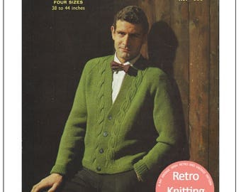 1950s Man's Cable Cardigan Vintage Knitting Pattern – PDF Instant Download