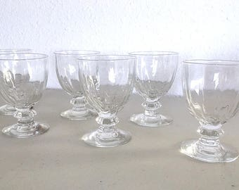 Vintage 50's Crystal Cordial Small Wine or Port Wine Glasses, Port Wine Sherry Dessert Wine Stem Glasses Vintage Handmade Mid Century Modern