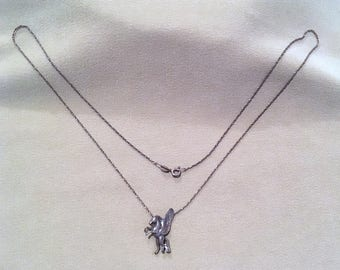 Sterling Silver Pegasus Charm Necklace w/18 Inch Figaro Chain, Vintage 50's Sterling Pegasus Pendant w/Chain, Winged Horse Silver Necklace