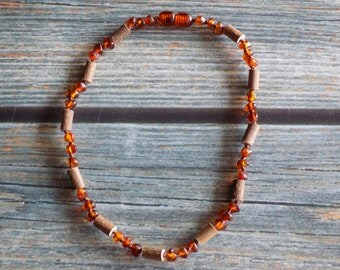 11.5 Inch Hazelwood and Baltic Amber Necklace - Support Reflux, Heartburn, and Eczema
