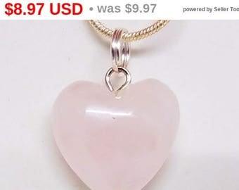 10% OFF Rose, Quartz, Mini, Heart, Pendant, Gemstone, Crystal, Necklace