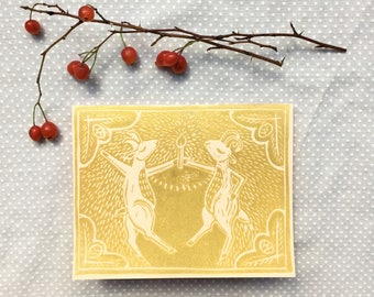 Set of Four Handmade Greeting Cards: Box Set Linocut Card Set Handmade Card Blank Cards Lino Print Linoleum Block Print Goat Art Gold Cards