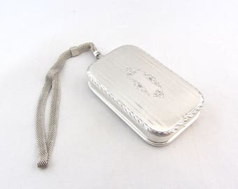 Edwardian Sterling Silver Compact Minaudière | Antique Sterling Silver Dance Purse Compact | Wightman and Hough Sterling Silver Necessaire