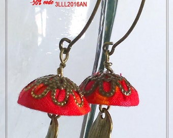 fine and elegant earrings orange red cotton fabric and feather