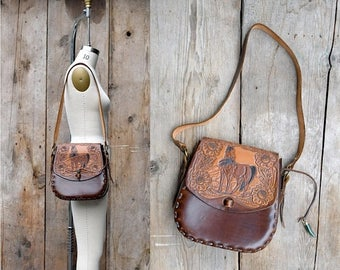 25% OFF ON SALE - vintage tooled leather purse + vintage leather crossbody bag + horse motif tooled embossed leather satchel + hand tooled l