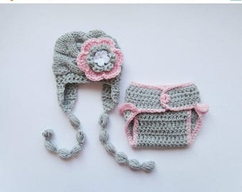 SALE 15% DISCOUNT Knit Baby Hat and Diaper Cover Set -Newborn Baby-  Photography Photo Prop Set - Newborn Diaper Cover and Hat