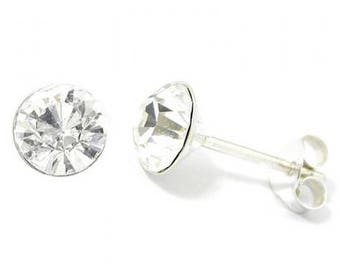 Clear Swarovski Crystal - AB Stud Earrings