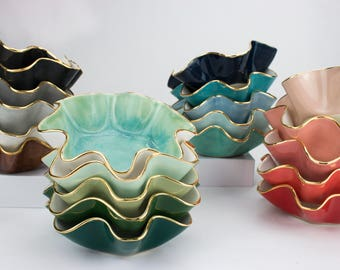 """Size A- Small wavy shaped handmade ceramic 5"""" wide x 2.5"""" high bowl w/ 22K gold luster edges wedding Gift, hostess gift, ring dish"""