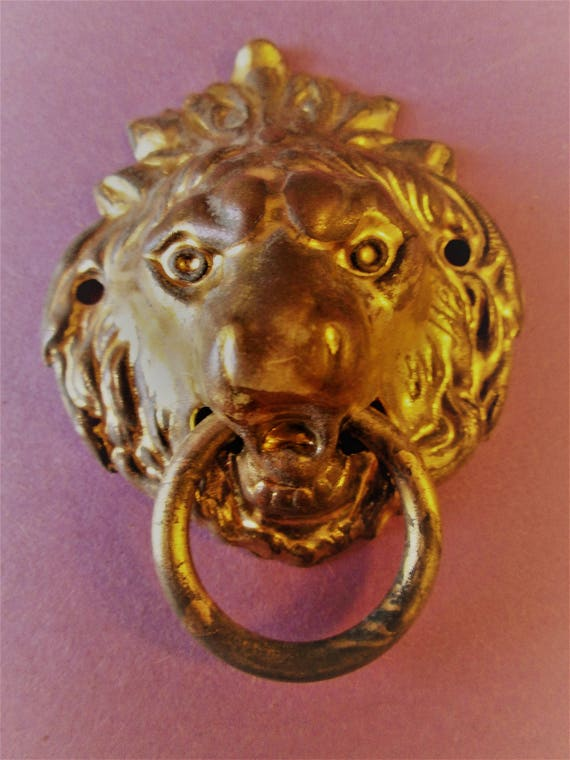 "Nice Vintage 2 1/2"" Wide Pressed Solid Brass Lion's Head Furniture / Clock Case Ornament for your Projects - Steampunk Art -"