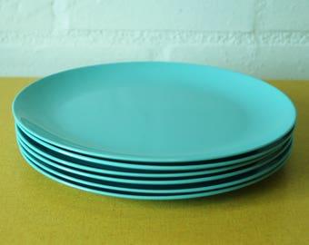 Set of 6 vintage blue Gaydon Melmex plates