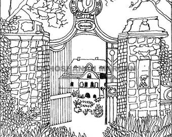 Abandoned Gate Pen and Ink Print Digital Download